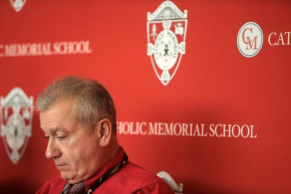 West Roxbury, MA - 1/18/18 - John DiBiaso is introduced as the head football coach and athletic director at Catholic Memorial School. (Lane Turner/Globe Staff) Reporter: (Craig Larson) Topic: (19schcmfoot)