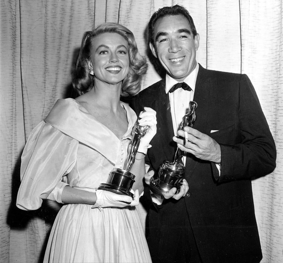 "Ms. Malone with Anthony Quinn after the 1956 Academy Awards, when she was named best actress in a supporting role for her performance in ""Written on the Wind."""