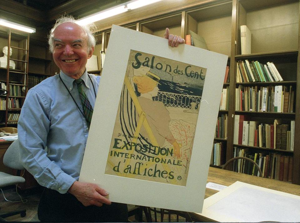 Mr. Hitchings, with a Toulouse-Lautrec print, was Boston Public Library's keeper of prints for more than four decades.