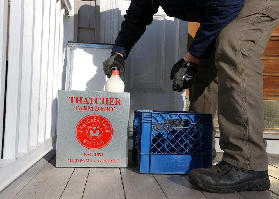 Boston, MA - 1/18/2018 - Roger Barsamian (cq) makes a delivery for Thatcher Farm (cq) in South Boston. Photo by Pat Greenhouse/Globe Staff Topic: milk Reporter: Julia Preszler