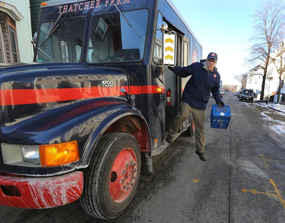 Boston, MA - 1/18/2018 - Roger Barsamian (cq) makes deliveries for Thatcher Farm (cq) in South Boston. Photo by Pat Greenhouse/Globe Staff Topic: milk Reporter: Julia Preszler