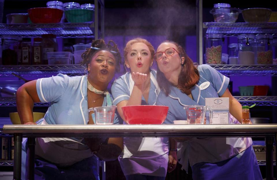 "Charity Angel Dawson, Desi Oakley, and Lenne Klingaman in the national tour of ""Waitress."""