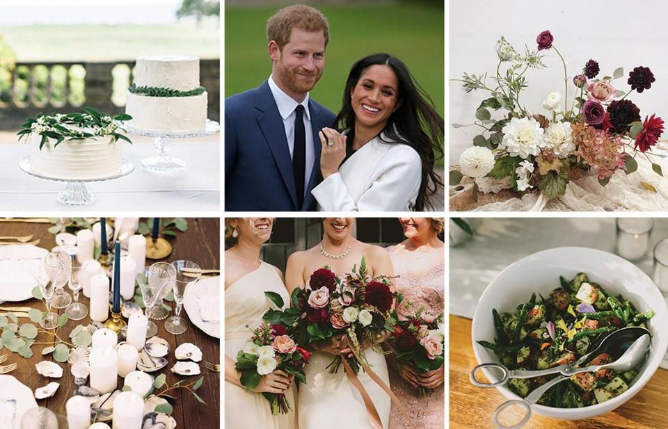 Meghan Markle's engagement ring from Prince Harry is on-trend. Couples are also opting for a different approach to wedding cakes, food service, flowers, and more.
