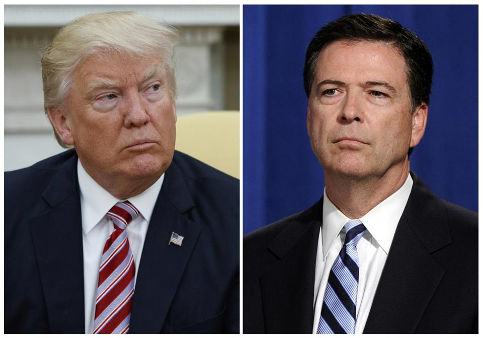 In this combination photo, President Donald Trump, left, appears in the Oval Office of the White House in Washington on May 10, 2017, and FBI Director James Comey appears at a news conference in Washington on June 30, 2014. With each tweet about the Clinton probe, Trump seems to be further undermining his administration's stated rationale for the termination of Comey. (AP Photo/Evan Vucci, left, and Susan Walsh, File)