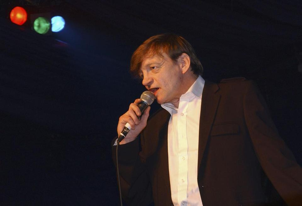 "Mark E. Smith of the Fall performing at the Hammersmith Palais on April 1, 2007, in London. This was the last scheduled concert at the historic West London venue, immortalised by the Clash song ""White Man In Hammersmith Palais."""