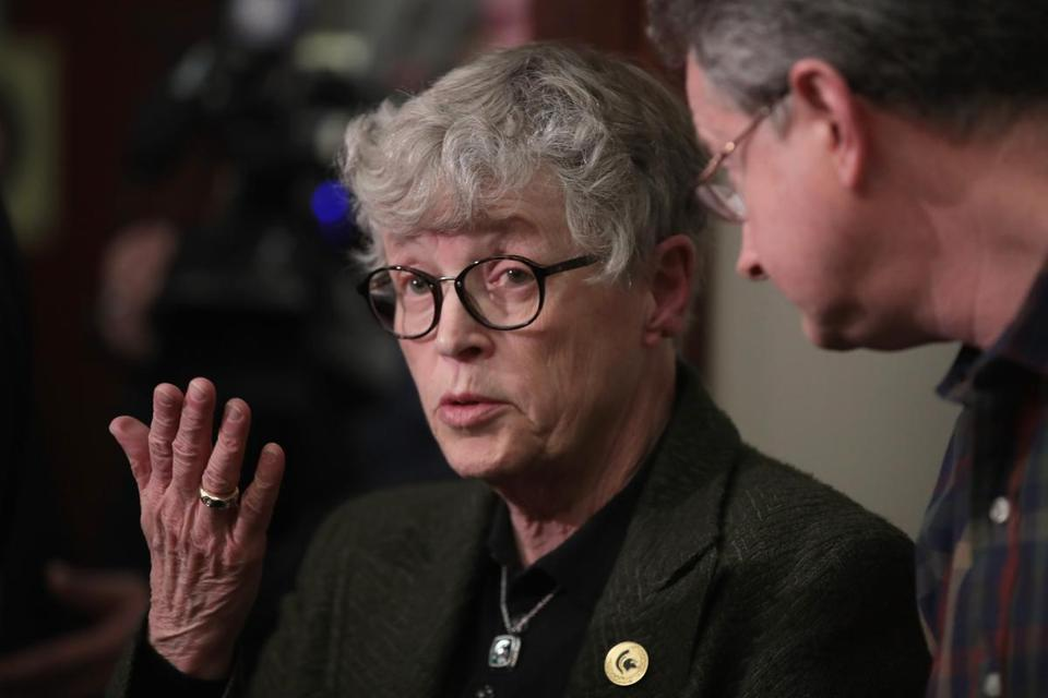 LANSING MI- JANUARY 17 Michigan State University President Lou Anna Simon answers a question after being confronted by former MSU gymnast Lidsey Lemke during a break in the sentencing hearing for Larry Nassar who has been accused of molesting mor
