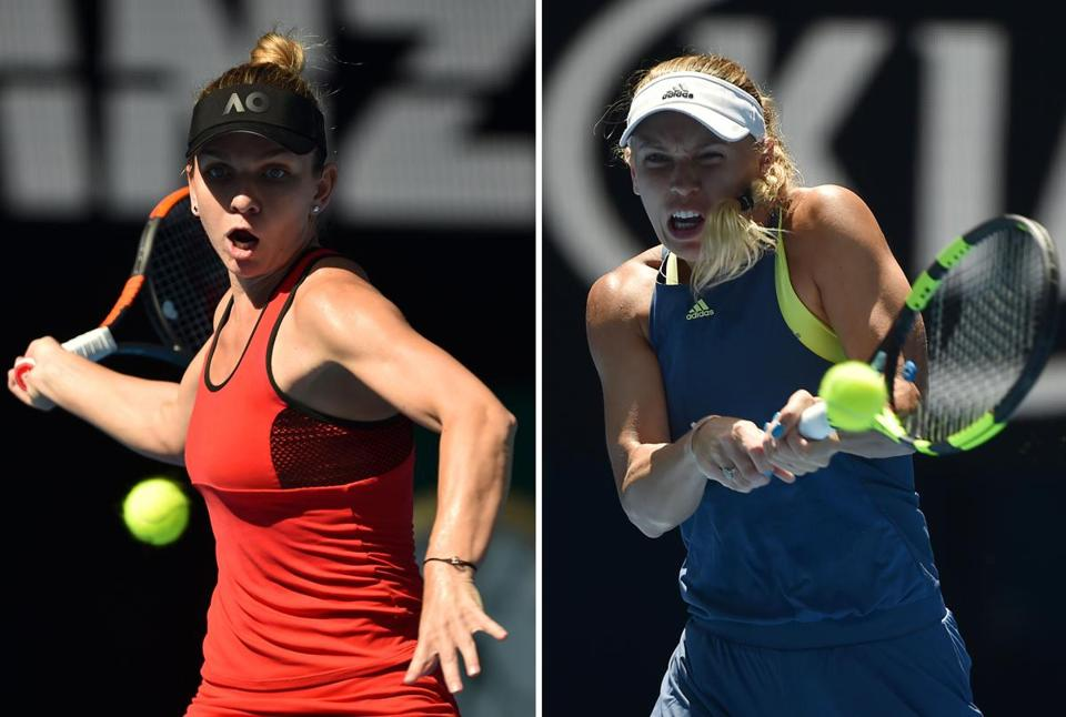 (FILES) This combination of file photographs created on January 25, 2018, shows (L) Romania's Simona Halep as she hits a return against Germany's Angelique Kerber during their women's singles semi-finals match on day 11 of the Australian Open tennis tournament in Melbourne on January 25, 2018 and (R) shows Denmark's Caroline Wozniacki as she hits a return against Belgium's Elise Mertens during their women's singles semi-finals match on day 11 of the Australian Open tennis tournament in Melbourne on January 25, 2018. Simona Halep survived a three-set thriller against Angelique Kerber to set up a winner-takes-all Australian Open final against Caroline Wozniacki, on January 27, 2018, where the number one ranking will be on the line. / AFP PHOTO / Peter PARKS / -- IMAGE RESTRICTED TO EDITORIAL USE - STRICTLY NO COMMERCIAL USE --PETER PARKS/AFP/Getty Images