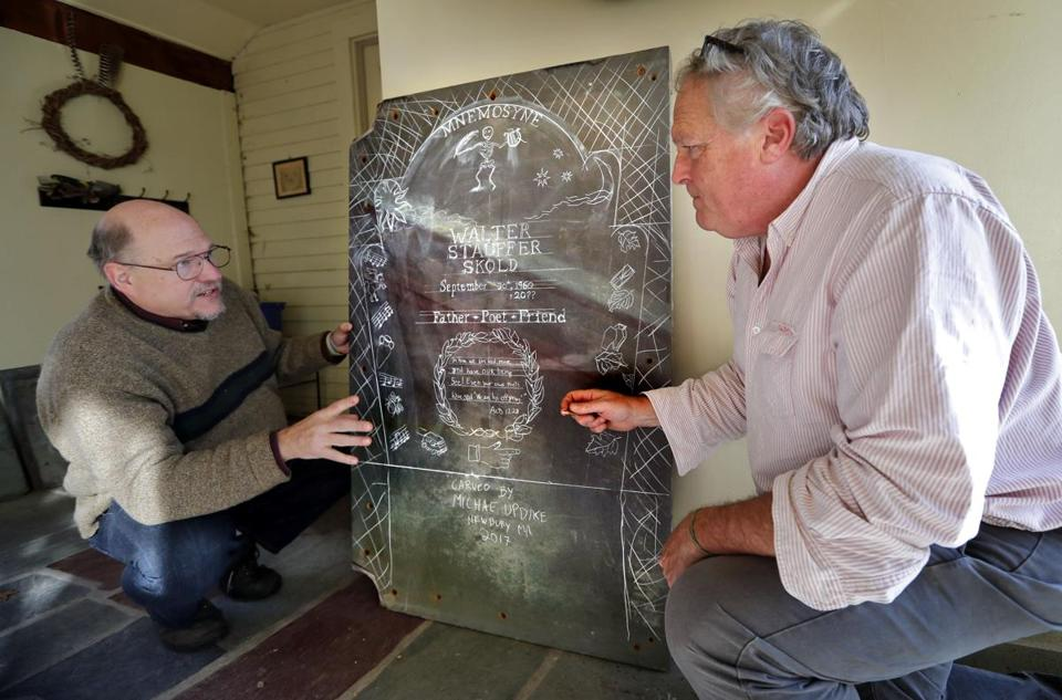 Walter Skold (left) and gravestone carver Michael Updike discussed the design of Mr. Skold's future tombstone, in Newbury, Mass., last year.