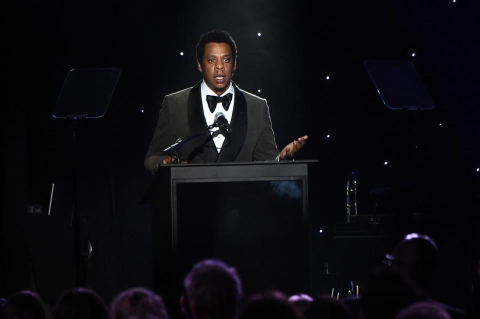 NEW YORK, NY - JANUARY 27: Honoree Jay-Z speaks onstage during the Clive Davis and Recording Academy Pre-GRAMMY Gala and GRAMMY Salute to Industry Icons Honoring Jay-Z on January 27, 2018 in New York City. (Photo by Mike Coppola/Getty Images)