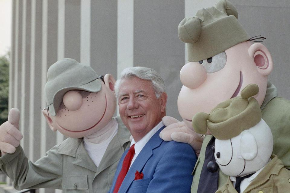 Mr. Walker's Beetle Bailey character (left) has malingered his way through seven decades as an Army private.