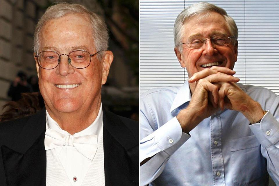 Brothers David (left) and Charles Koch. Charles has ramped up his spending on campus projects from his personal foundation to $100 million a year in 2017, from about $35 million in 2014.