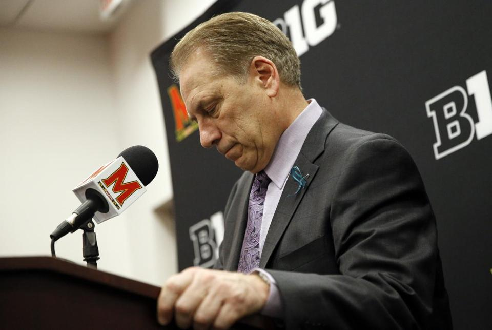 Michigan State head coach Tom Izzo speaks at a news conference after an NCAA college basketball game against Maryland in College Park, Md., Sunday, Jan. 28, 2018. (AP Photo/Patrick Semansky)
