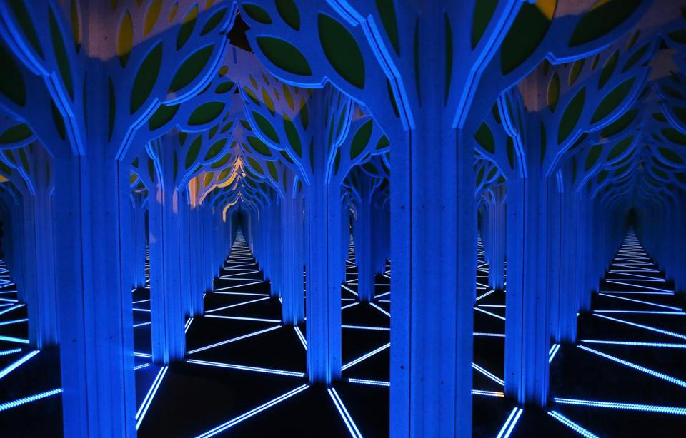 "The ""A Mirror Maze: Numbers in Nature"" exhibit at the Museum of Science features a large mirror maze."