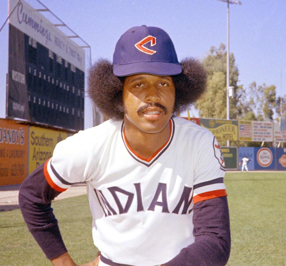 In this 1974 file photo, Cleveland Indians baseball player Oscar Gamble poses. Gamble, an outfielder who hit 200 home runs over 17 major league seasons, died Wednesday, Jan. 31, 2018, of a rare tumor of the jaw. He was 68. (AP Photo/RHH, File)