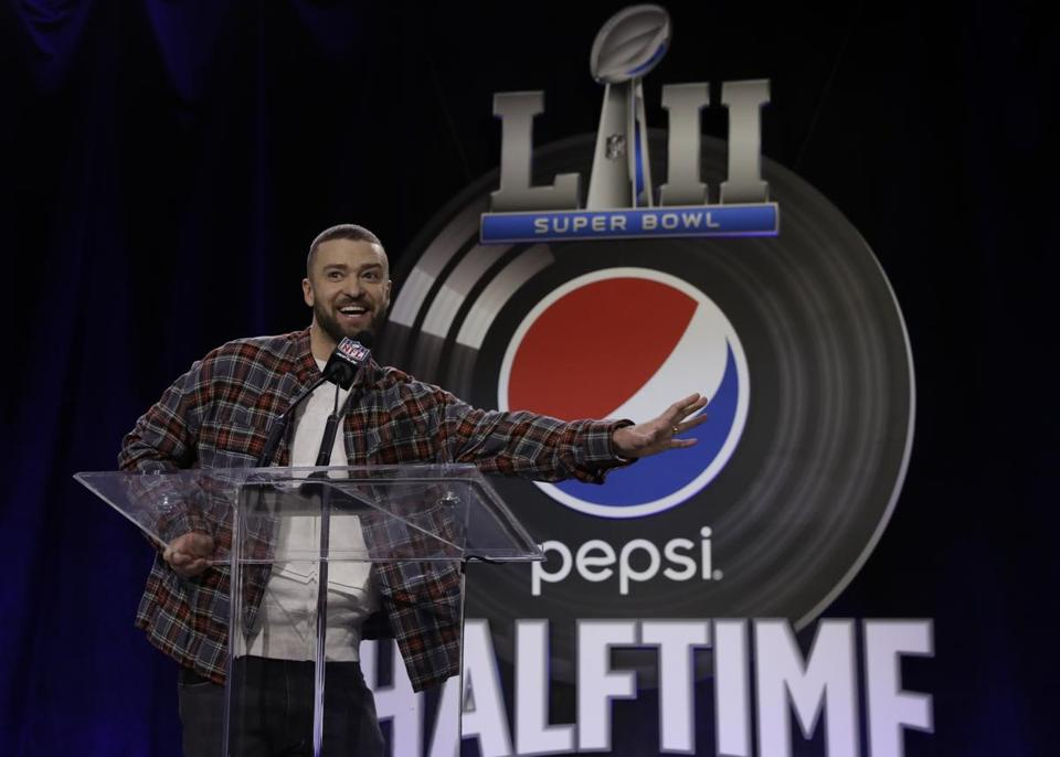 Justin Timberlake answered questions during a news conference for the NFL Super Bowl 52 football game halftime show.