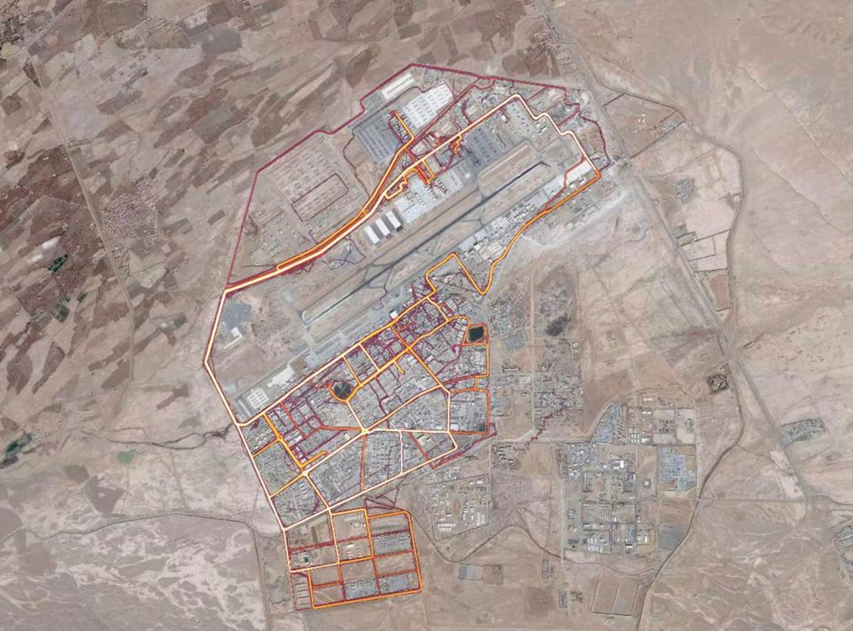 A portion of the Strava Labs heat map from Kandahar Airfield in Afghanistan, made by tracking activities. MUST CREDIT: Screenshot from https://labs.strava.com/heatmap