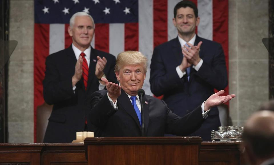 President Donald Trump delivers his first State of the Union address Jan. 30. (Win McNamee/Pool via AP)