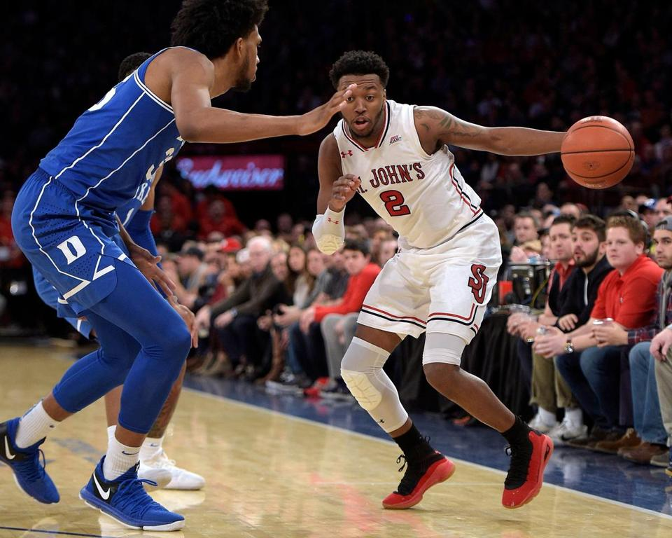 NEW YORK, NY - FEBRUARY 03: Shamorie Ponds #2 of the St. John's Red Storm drives against Marvin Bagley III #35 of the Duke Blue Devils at Madison Square Garden on February 3, 2018 in New York City. St. John's won 81-77. (Photo by Lance King/Getty Images)
