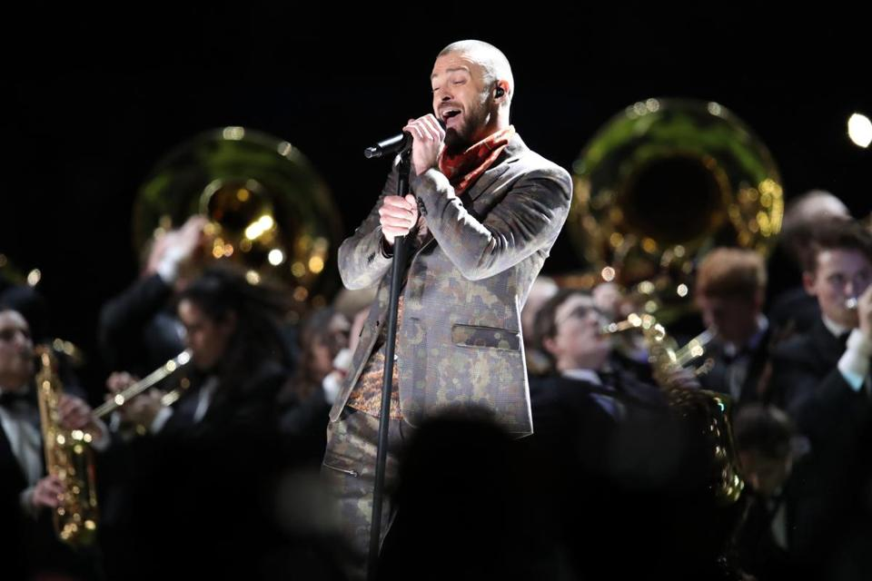 Justin Timberlake performed at halftime of Sunday's Super Bowl.
