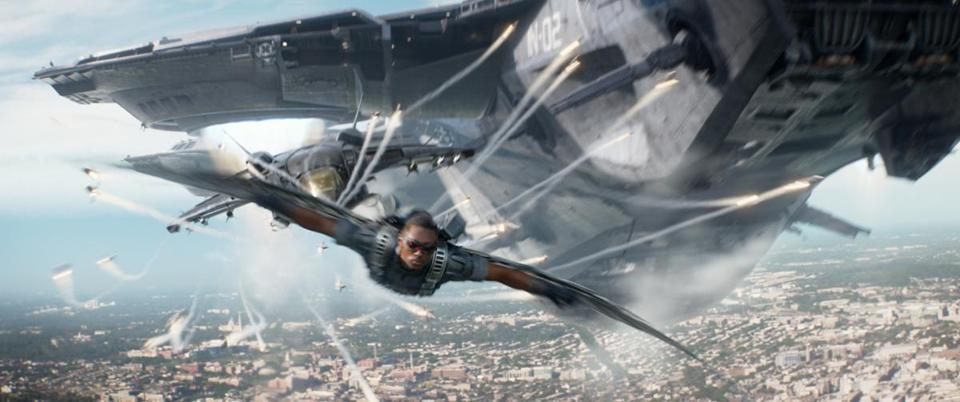 "Anthony Mackie as Falcon in ""Captain America: The Winter Soldier."""
