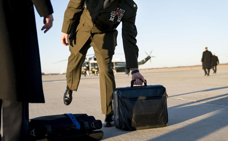 A military aide carried the so-called nuclear football during a recent trip with President Trump.