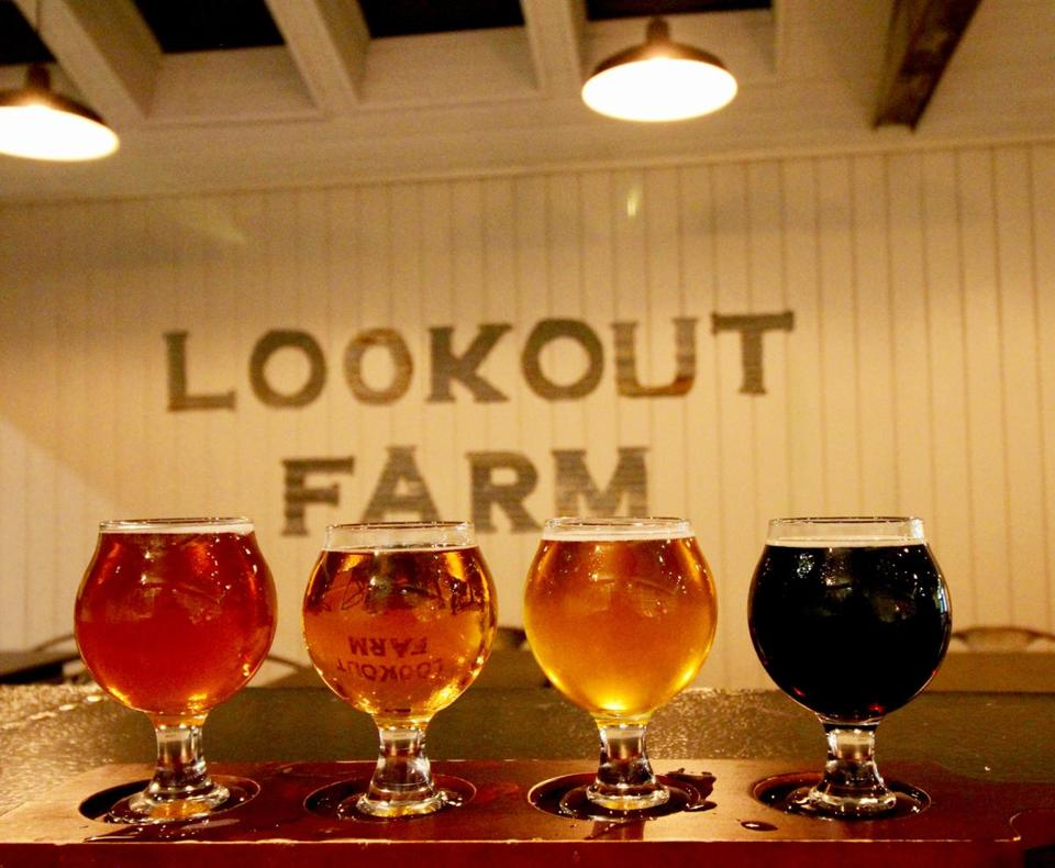 A flight of beers from Lookout Farm.
