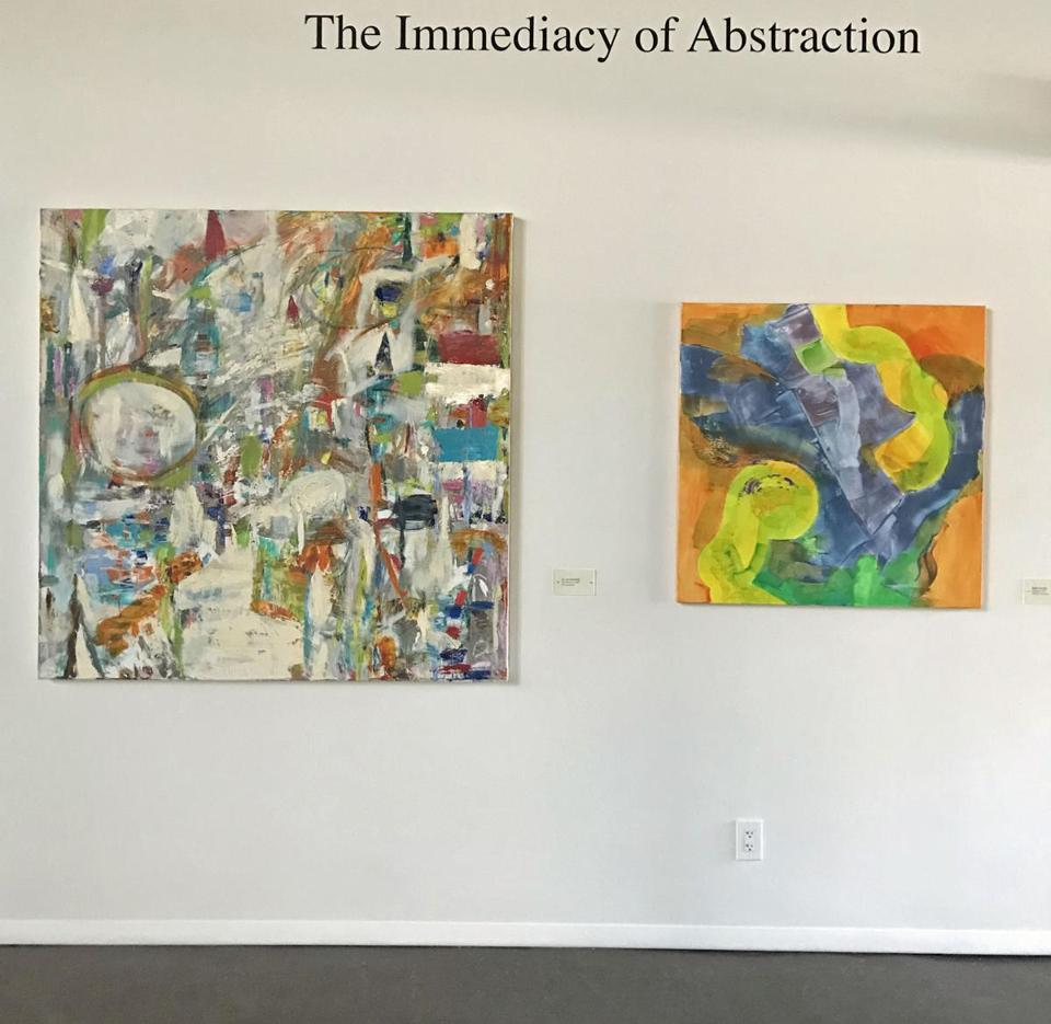 "JoAnne Rothschild's ""The Malecom,"" left, and Diane Novetsky's ""Jitterbug."""