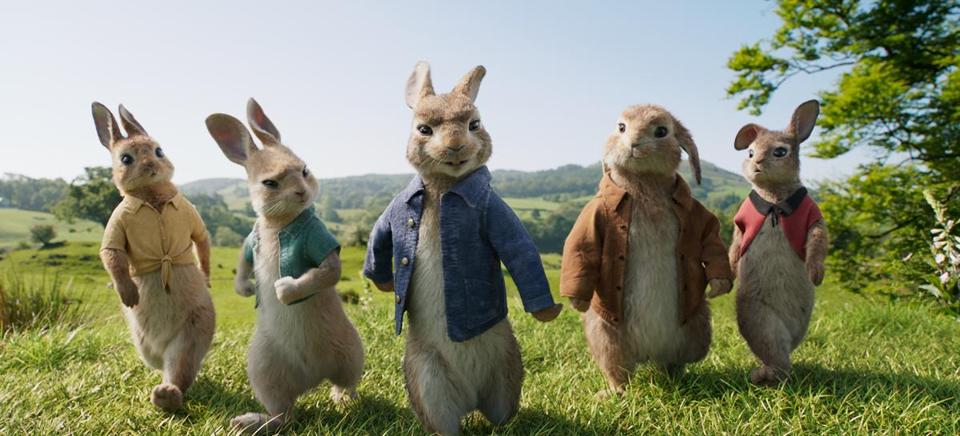 "Mopsy (Elizabeth Debicki), Cottontail (Daisy Ridley), Peter Rabbit (James Corden), Benjamin (Colin Moody) and Flopsy (Margot Robbie) in Will Gluck's ""Peter Rabbit."""