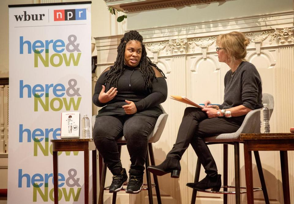 Angie Thomas (left) with Robin Young at First Parish Church.