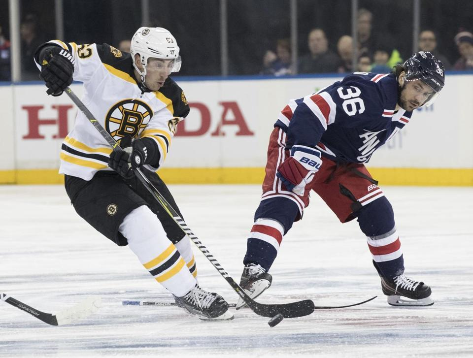 Boston Bruins left wing Brad Marchand (63) controls the puck skating against New York Rangers right wing Mats Zuccarello (36) during the first period of an NHL hockey game Wednesday, Feb. 7, 2018, at Madison Square Garden in New York. (AP Photo/Mary Altaffer)