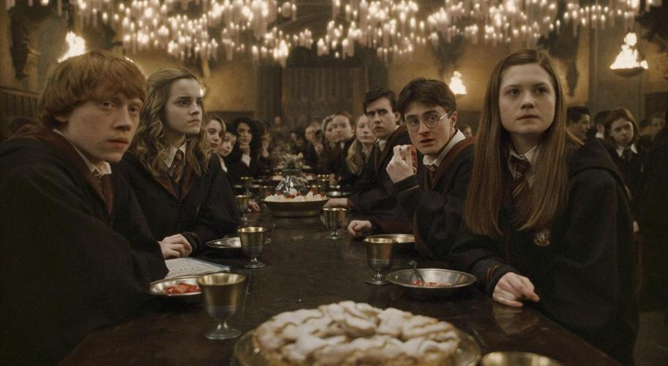 "THIS HANDOUT FILE HAS RESTRICTIONS!!! From left, RUPERT GRINT as Ron Weasley, EMMA WATSON as Hermione Granger, MATTHEW LEWIS as Neville Longbottom, DANIEL RADCLIFFE as Harry Potter and BONNIE WRIGHT as Ginny Weasley in Warner Bros. Pictures' 2009 film ""Harry Potter and the Half-Blood Prince,"" directed by David Yates. CREDIT: Warner Brothers Pictures Published 07-30-2009: ""Harry Potter and the Half-Blood Prince,"" taking in $400 million in its first five days, is a recent bright spot for Time Warner. (Warner Brothers Pictures) Library Tag 07132011"