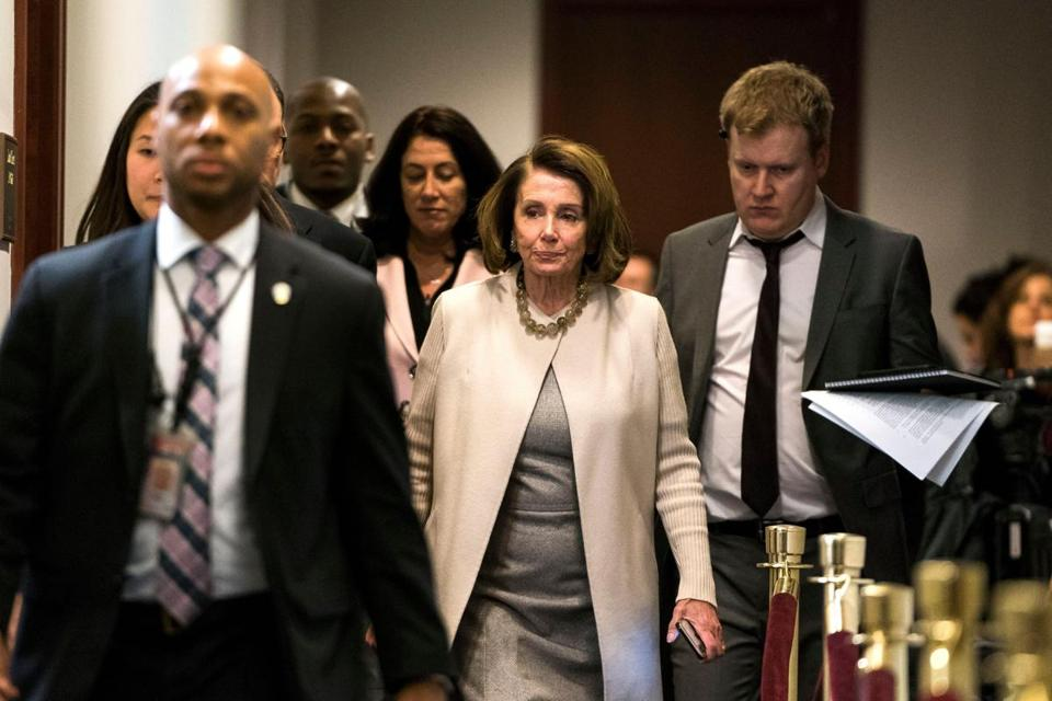 House minority leader Nancy Pelosi headed for a meeting with Democratic caucus members late Thursday.