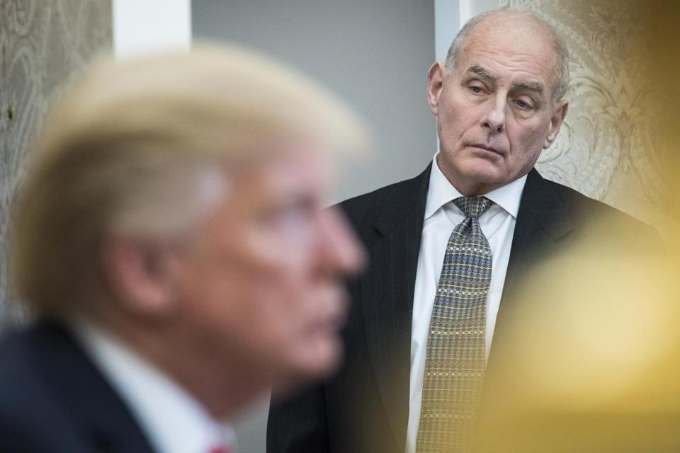 White House Chief of Staff John Kelly watches as President Donald Trump speaks during a meeting with North Korean defectors in the Oval Office at the White House on Feb. 2. MUST CREDIT Washington Post
