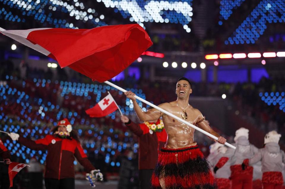 Pita Taufatofua appeared at the Winter Olympics opening ceremony in South Korea on Friday. He shot to international fame in the 2016 Summer Games, and the taekwondo competitor took up cross-country skiing last year, despite representing a tropical south Pacific island nation where it doesn't snow.