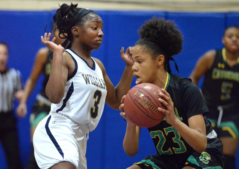 Braintree-02/09/18 Cathedral at Archbishop Williams basketball- Acrhbishop Williams Asiah Dingle(left) guards Cathedral's Ariana Vanderhoop as she looks to pass the ball in the 1st half. Photo by DebeeTlumacki for The Boston Globe(sports)