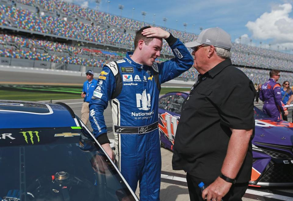 DAYTONA BEACH, FL - FEBRUARY 11: Alex Bowman, driver of the #88 Nationwide Chevrolet, and team owner Rick Hendrick react after winning the Pole Award during qualifying for the Monster Energy NASCAR Cup Series Daytona 500 at Daytona International Speedway on February 11, 2018 in Daytona Beach, Florida. (Photo by Sean Gardner/Getty Images)
