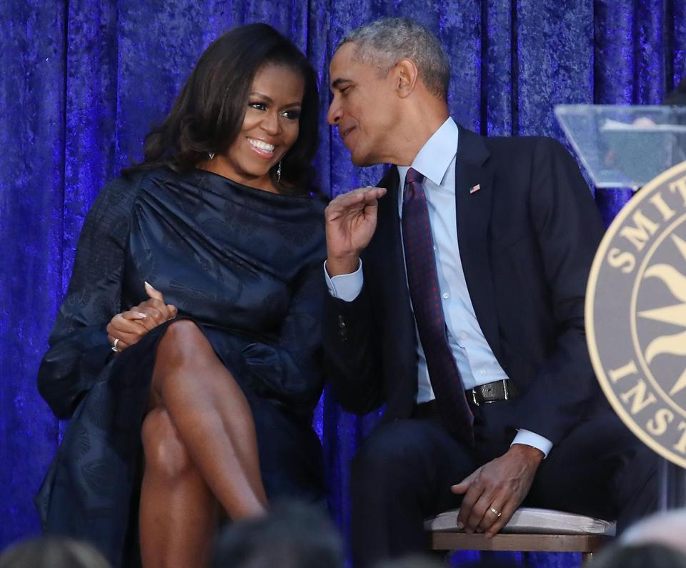 Former president Barack Obama and former first lady Michelle Obama at the unveiling.