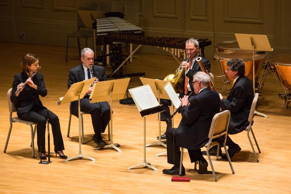 "The Boston Symphony Chamber Players performed Ligeti's ""Six Bagatelles for Wind Quintet"" Sunday."