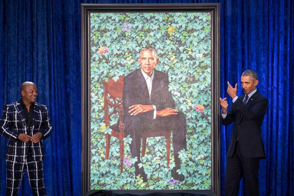 Artist Kehinde Wiley (left) and former president Barack Obama at the unveiling.
