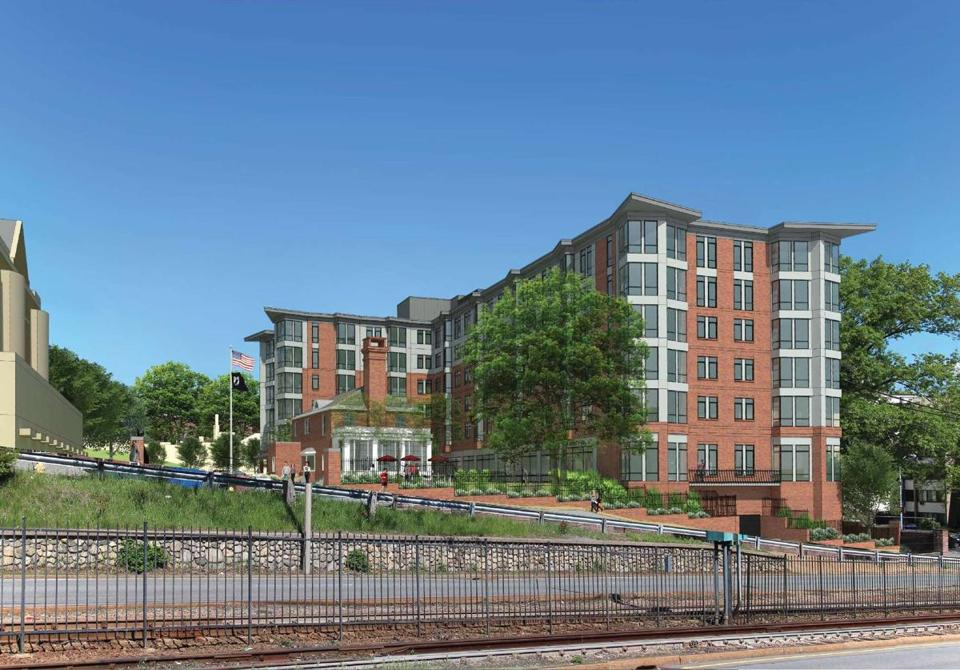 **HIGHER RES VERSION** 25BrightonMarine - Rendering of the 102-unit apartment complex proposed on the site of the Brighton Marine Health Center. (The Architectural Team)