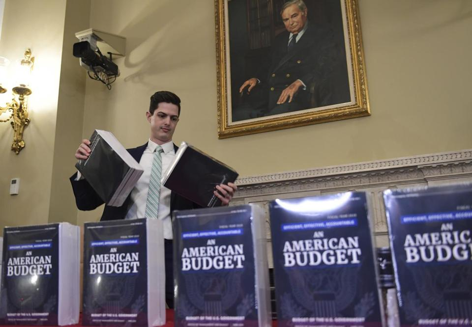 James Knable helped to unpack copies of the President's FY19 Budget after it arrived at the House Budget Committee office on Capitol Hill on Monday.