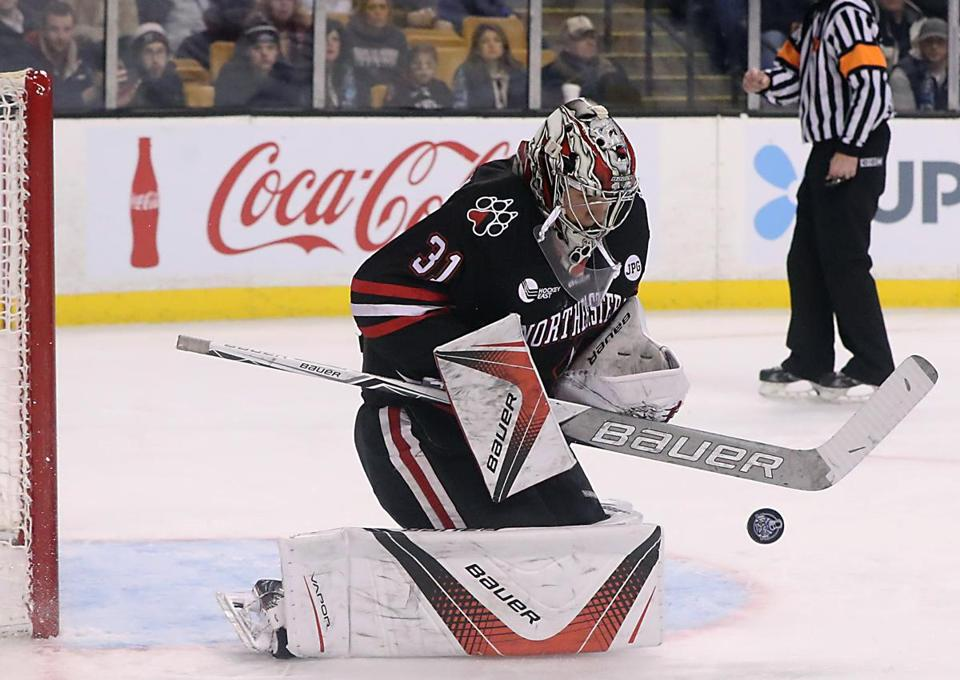 Boston MA 02/12/18 Northeastern University Cayden Primeau making a save against Boston University during third period of the Beanpot Championship game at the TD Garden. (Matthew J. Lee/Globe staff) topic: reporter: