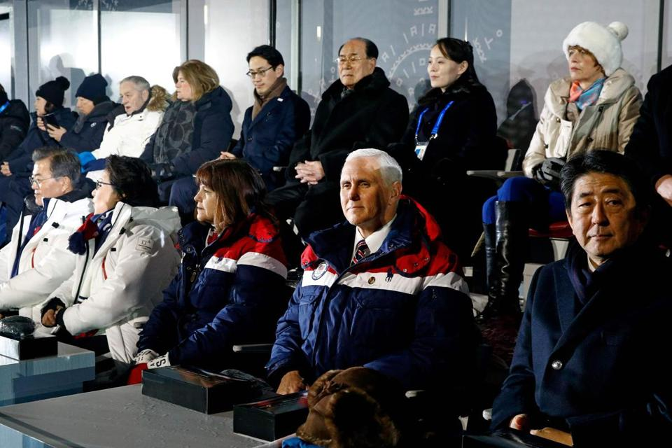 South Korean President Moon Jae-in (far left, front row), US Vice President Mike Pence (second right, front row), and Kim Yo Jong, sister of North Korean ruler Kim Jong Un (second right, back row) sat in close proximity the opening ceremonies of the 2018 Winter Olympic Games in PyeongChang, South Korea.