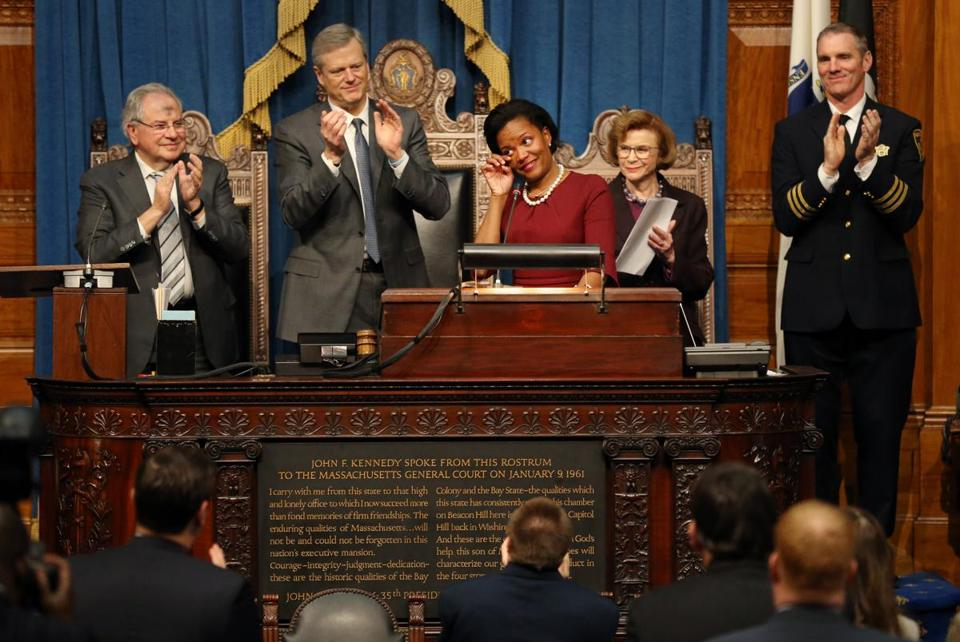 State Senator Linda Dorcena Forry wiped a tear from her eye while delivering her farewell address to the Legislature on Wednesday.