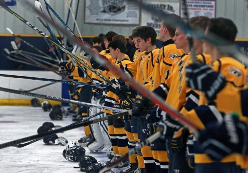 Andover High School players banged their sticks on the ice after the national anthem before a game against Chelmsford on Jan. 25.