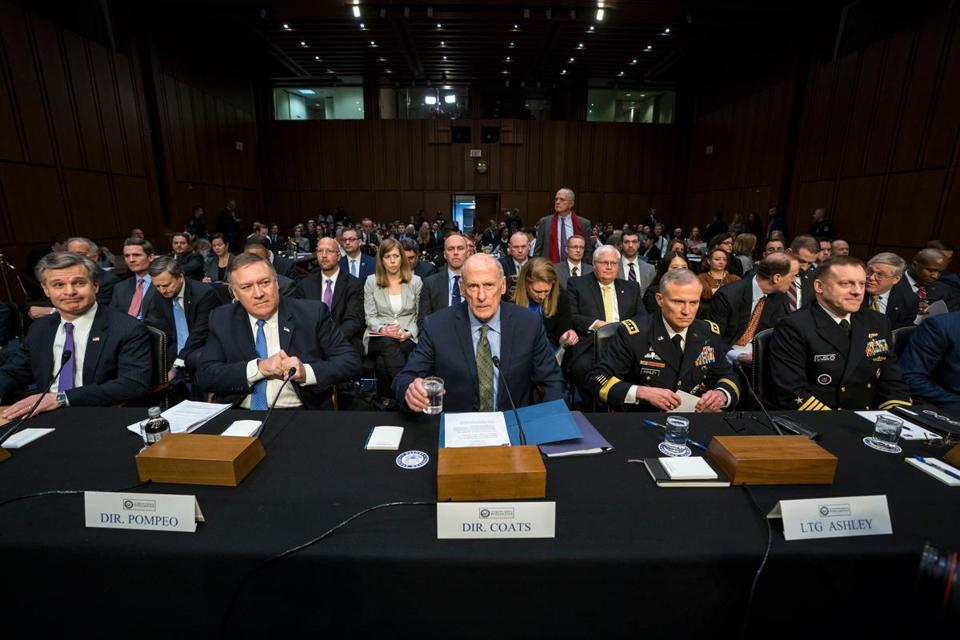 The nation's top intelligence officials, led by director of national intelligence Daniel Coats (center), addressed the Senate Intelligence Committee on Tuesday.