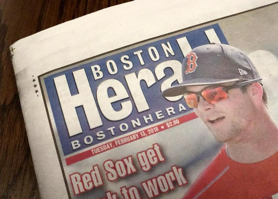 The front page of The Boston Herald on Feb. 13.