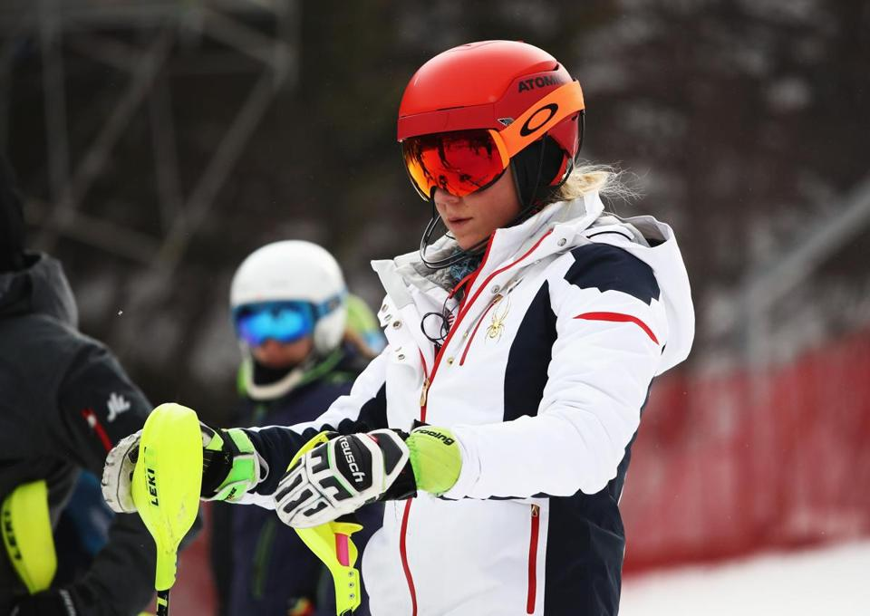 Mikaela Shiffrin inspects the slalom course prior to the event's postponement Wednesday at Yongpyong Alpine Centre.