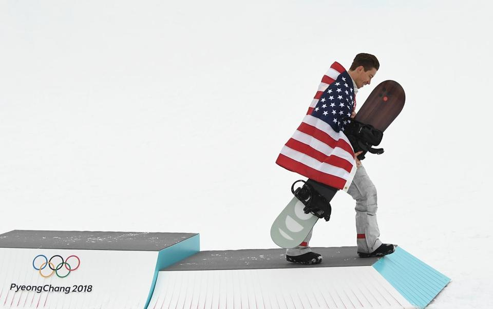 Shaun White celebrated his gold medal in the men's snowboard halfpipe competition.
