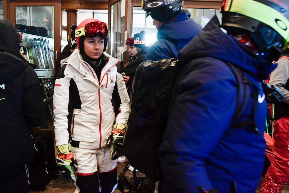 Mikaela Shiffrin left the venue after the Women's Giant Slalom race was postponed because of strong winds on Tuesday.